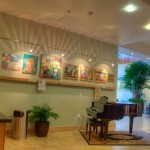 Modern decor and piano in lobby