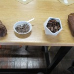 The different stages from cocoa pod to chocolate.