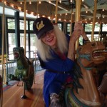 Penny on the carousel.