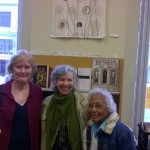 Local Artist, Marlene Tobias, with residents, aka fans on either side.