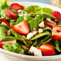 Organic Healthy Strawberry Balsamic Salad with Spinach