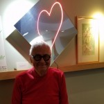 Bayside's resident posing in front of his neon heart sculpture.  Everyone liked this art piece so much it now resides prominently in our lobby!