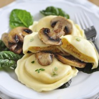Pumpkin Tortellini with chard and mushrooms